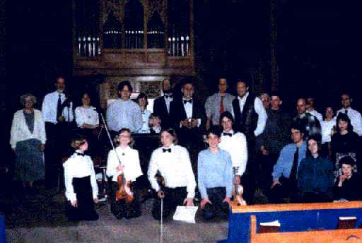 photo of Rick Riley and his students after Concert